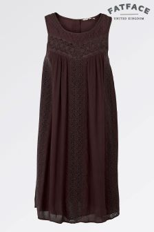 Fat Face Black/Berry Abigail Embroidered Dress