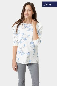 Joules Cream Painted Floral Harbour Jersey Top