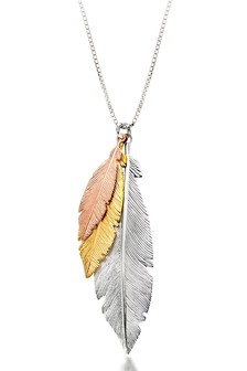 Beaverbrooks Silver Rose Gold Plated And Triple Feather Necklace