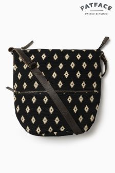Fat Face Black Tia Woven Cross Body Bag