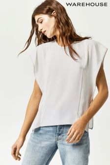 Warehouse Cream Ruffle Sleeve Top