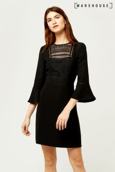 Warehouse Black Lace And Crepe Mix Dress