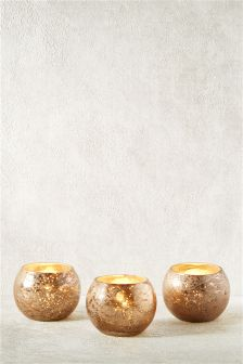 Set Of 3 Mercury Glass Tea Light Holders