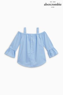 Abercrombie & Fitch Blue Off The Shoulder Blouse