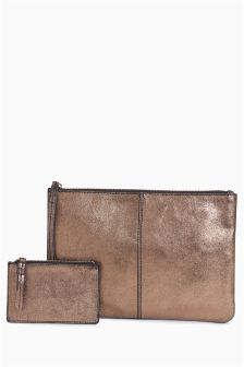 Leather Clutch And Purse Set