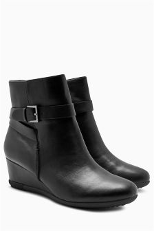 Buckle Detail Wedge Ankle Boots