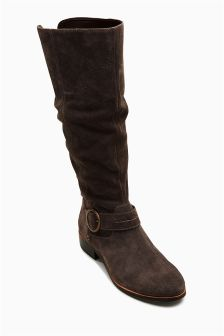 Leather Slouch Long Boots