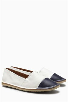 Toe Cap Leather Slip-Ons