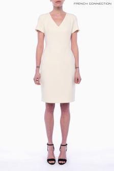French Connection Pale Yellow Short Sleeve V-Neck Dress