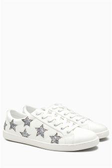Glitter Star Lace-Up Trainers
