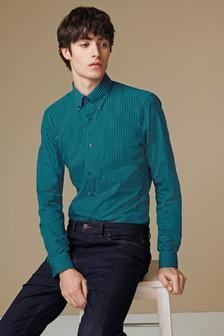 Gingham Button Down Collar Shirt
