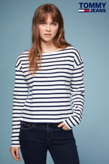 Tommy Jeans White Boat Neck T-Shirt