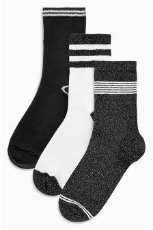 Sparkle Stripe Ankle Socks Three Pack