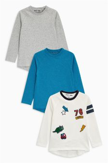 Long Sleeve Badge T-Shirts Three Pack (3mths-6yrs)