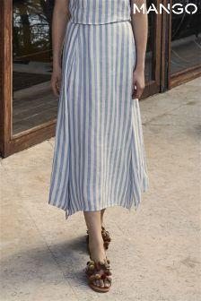 Mango Blue Striped Column Skirt