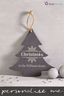 Personalised Christmas Tree Slate Sign Decoration By Loveabode