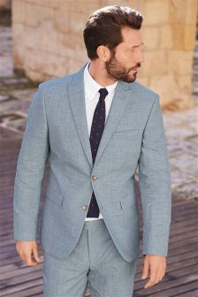 Melange Linen Blend Suit