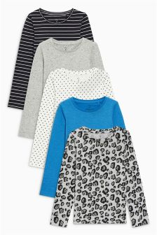 Long Sleeve Tops Five Pack (3-16yrs)