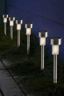 Garden lights outdoor lanterns solar garden lights next set of 6 stainless steel path finders aloadofball Images