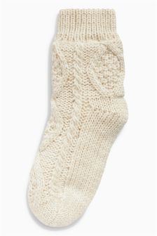 Cable Knit Bed Socks