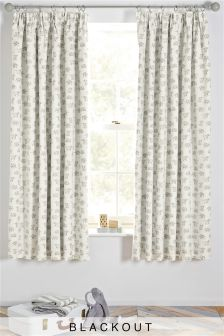 Happy Elephant Blackout Pencil Pleat Curtains