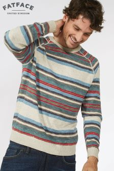 Fat Face Oatmeal Winchester Stripe Crew