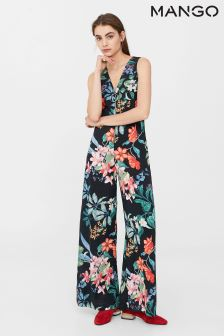 Mango Navy Ground Floral Jumpsuit