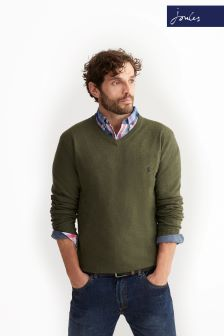 Joules Green Retford V-Neck Jumper