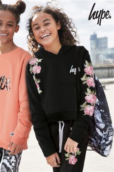 Hype. Black Rose Crop Hoody