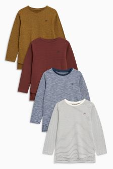 Textured Long Sleeve T-Shirts Four Pack (3-16yrs)