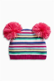 Stripe Pom Hat (0mths-2yrs)