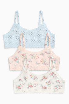 Polka Floral Crop Tops Three Pack (Older Girls)