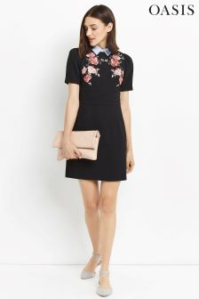 Oasis Multi Black Rose Embroidered Dress
