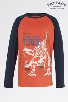 Fat Face Orange Glow Long Sleeve T-Rex Raglan Tee
