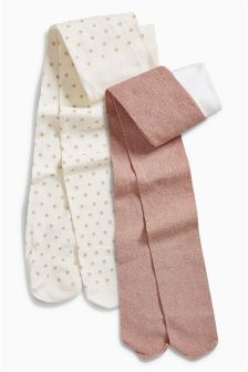 Cream Star And Pink Metallic Tights Two Pack (3-16yrs)