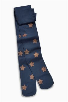 Copper Metallic Star Tights (3-16yrs)