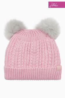 Joules Rose Pink Knitted Bobble Hat