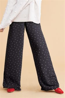 Heart Print Wide Leg Trousers