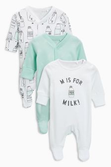 Milk Sleepsuits Three Pack (0mths-2yrs)