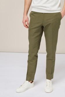 Plain Linen Blend Suit: Trousers