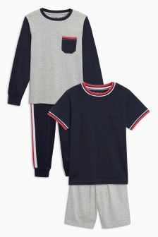 Sporty Mixed Legs Pyjamas Two Pack (3-16yrs)