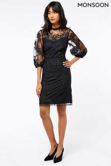 Monsoon Black Lenora Lace Dress