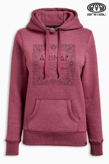 Animal Sketched Bordeaux Red Marl Overhead Hoody