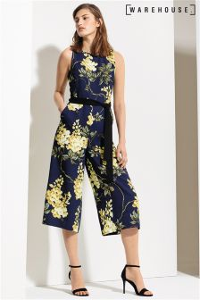 Warehouse Multi Wisteria Print Jumpsuit