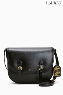 Lauren Ralph Lauren Black Leather Tate Satchel