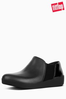 FitFlop™ Black Patent Elastic Panel Shoe Bootie