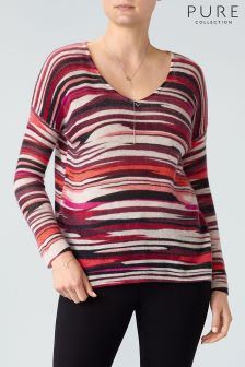 Pure Collection Pink Brush Stripe Printed Gassato Sweater