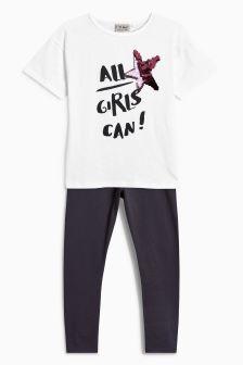 Oversized Short Sleeve T-Shirt And Legging Set (3-16yrs)