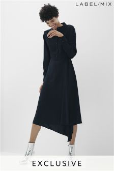 Mix/Osman Asymmetric Drape Shirt Dress