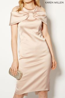 Karen Millen Nude Bow Front Dress Collection